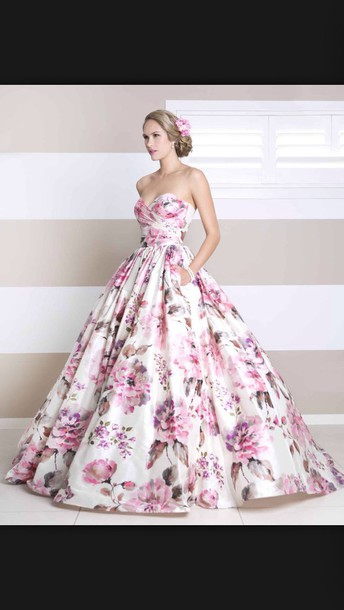 dress spring floral girly prom dress prom gown wedding wedding gown gown flowers style white pink purple love romantic wedding dress