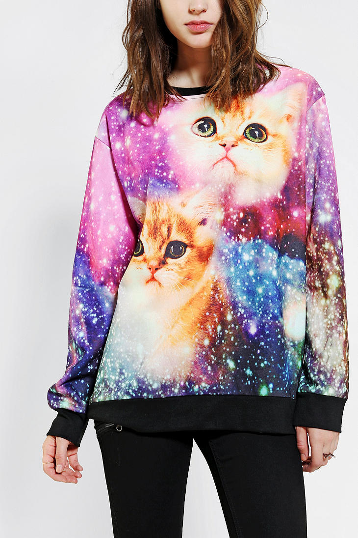 Outfitters Purple Galactic Cats Pullover Sweatshirt