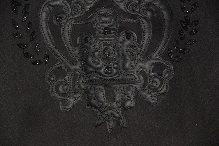 Carving Pattern Beaded Balck T-shirt [DLN0158] - PersunMall.com
