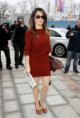 salma hayek dress balenciaga bag sunglasses blouse