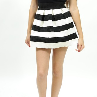 skirt stripes skater striped skirt skater skirt colorblock mini skirt