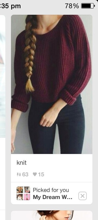 sweater burgundy sweater long sleeves fall outfits knitted sweater crewneck burgundy sweatshirt maroon/burgundy bordeau warm winter outfits red cute beautiful girl shirt purple cute outfits braid