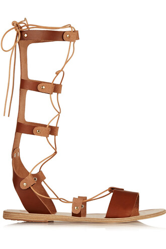 sandals leather sandals lace leather tan shoes