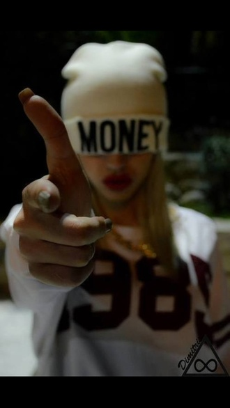 hat beanie money nails sweatshirt team number lipstick blonde hair jersey dope