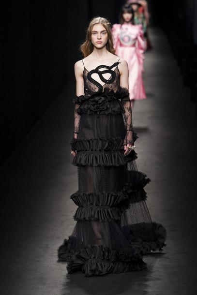 Dress: gown, prom dress, long prom dress, gucci, runway, fashion ...