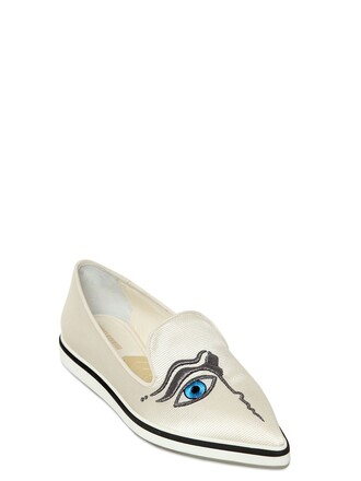 embroidered loafers silk white shoes