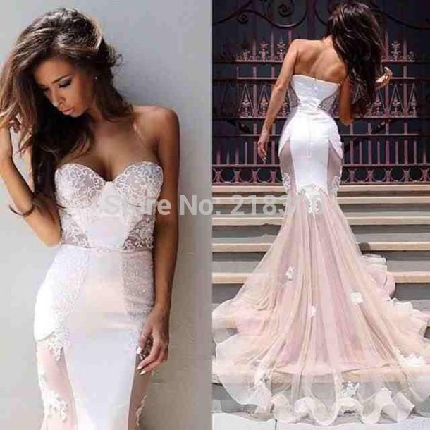 Aliexpress.com : Buy White champagne see through prom dresses long ...