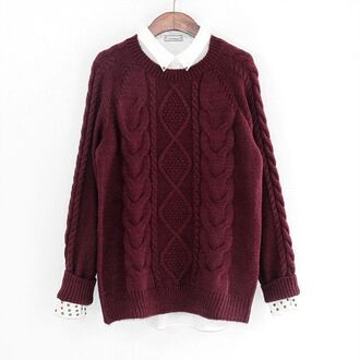 sweater burgundy sweater diamond knit cable knit pullover sweater winter sweater long sleeves www.ustrendy.com