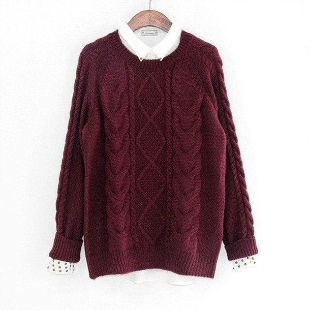 Sweater Burgundy Sweater Diamond Knit Cable Knit Pullover