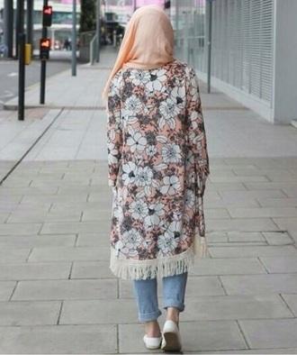 dress blouse pink long hipster hijab