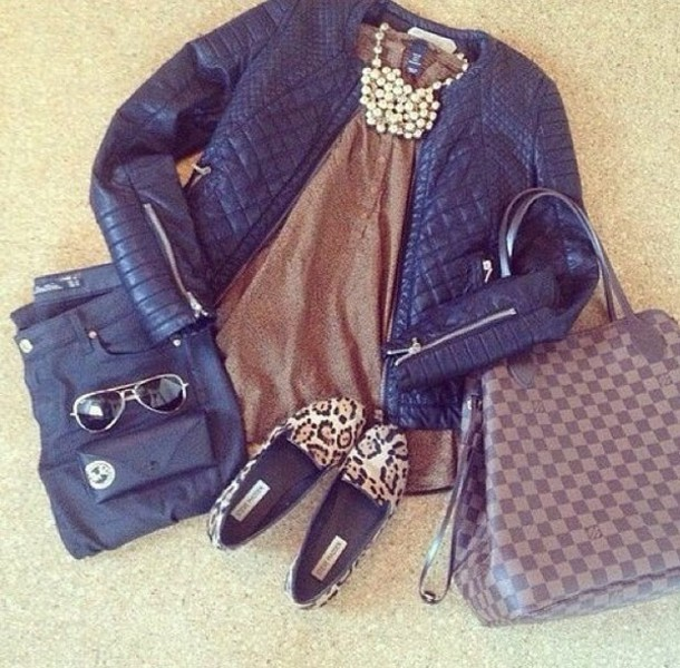 coat bag jewels shirt shoes jeans jacket