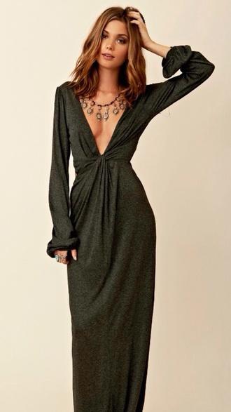 dress plunge neckline shimmering floorlength khaki