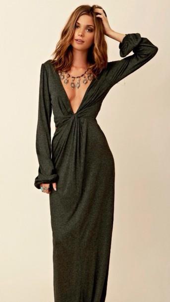 da0b77227 dress plunge neckline shimmering floorlength khaki sweater dress comfy  green black boho chic sofisticated sexy maxi