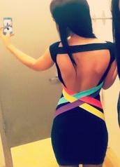dress,purple,black,open back,open back dresses,light blue,yellow,red,orange,multi color dresses,bandage dress,clothes