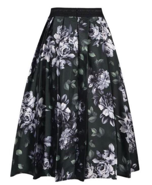 olive skirt midi skirt high waist skirt 3d print floral skirt www.ustrendy.com