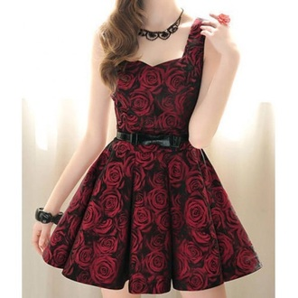 dress red cute dress fashion floral roses style
