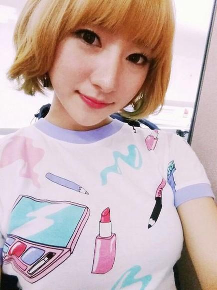 white shirt minx asian fashion korean fashion lipstick cute shirt japanese fashion blue shirt pink shirt purple shirt