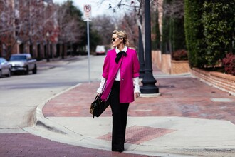 the courtney kerr blogger coat blouse jeans shoes bag jewels sunglasses