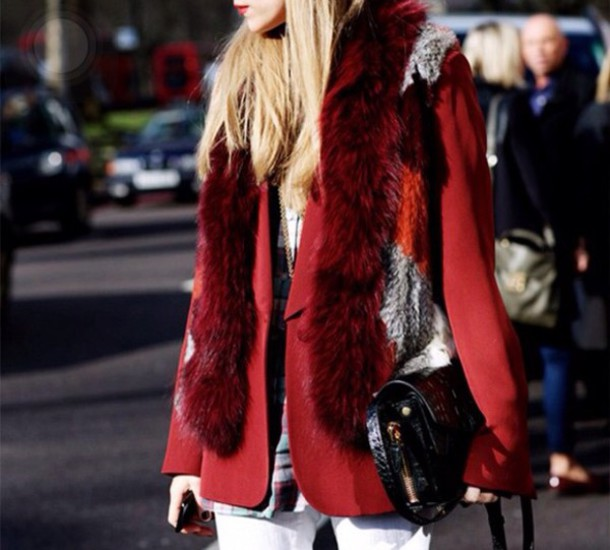 scarf fur fur scarf red scarf red fur scarf fashionista olivia palermo inspired polyvore fur scarf fur vest faux fur fashionista talk instagram