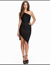 dress,black dress,one shoulder,cocktail dress