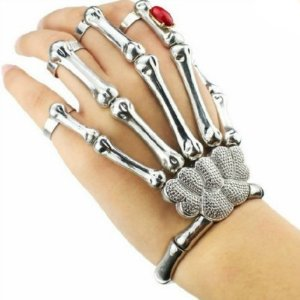 Amazon.com: Silver Cool Punk Rock Skeleton Skull Hand Bone Ring Bracelet: Jewelry