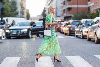 dress fashion week street style fashion week 2016 fashion week milan fashion week 2016 green dress maxi dress streetstyle sandals sandal heels high heel sandals black sandals bag white bag shoulder bag belt sequin dress sequins