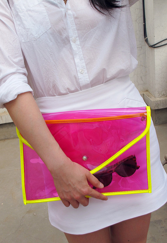 Neon dayglo oversize clear envelope clutch purse by eastworkshop