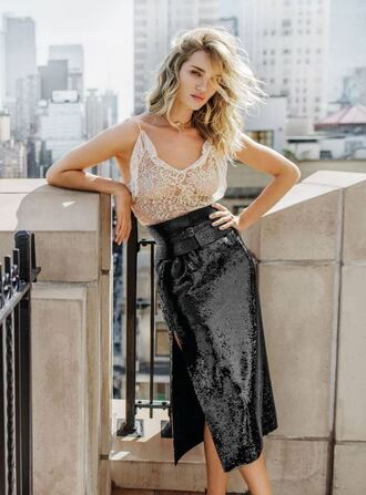 skirt sequins sequin skirt rosie huntington-whiteley top blouse lace top editorial midi skirt summer top model belt dior