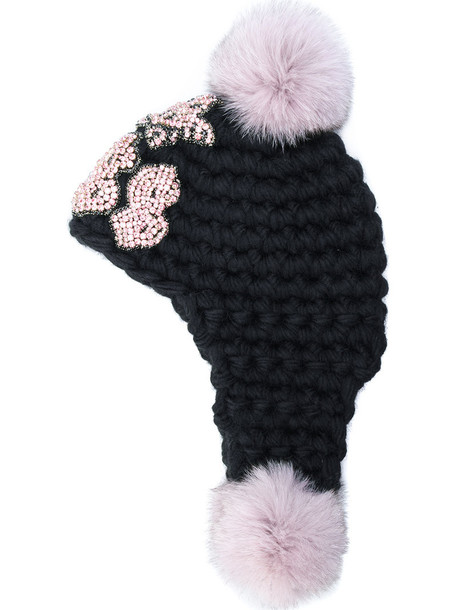 fur fox women hat black
