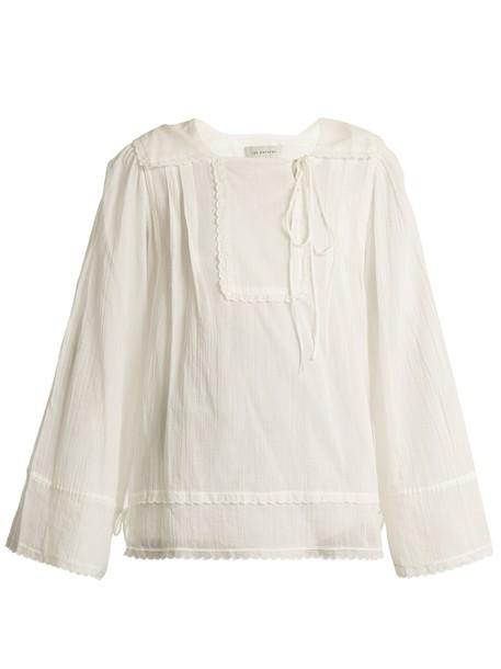 Lee Mathews blouse pleated cotton white top