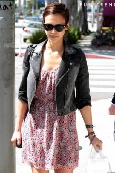 dress jessica alba flowers fleurs pink dress pink black jacket winter jacket clothes cute dress cute
