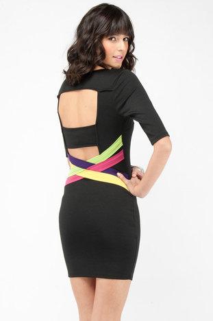Color Strips Ponti Dress in Black :: tobi