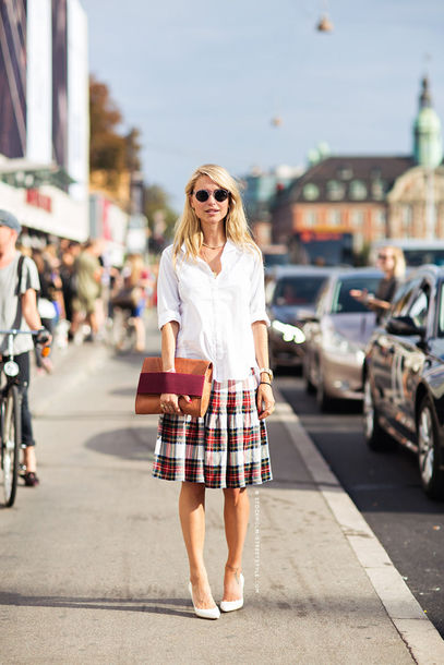 skirt plaid tartan full skirt streetstyle pernille teisbaek scottish
