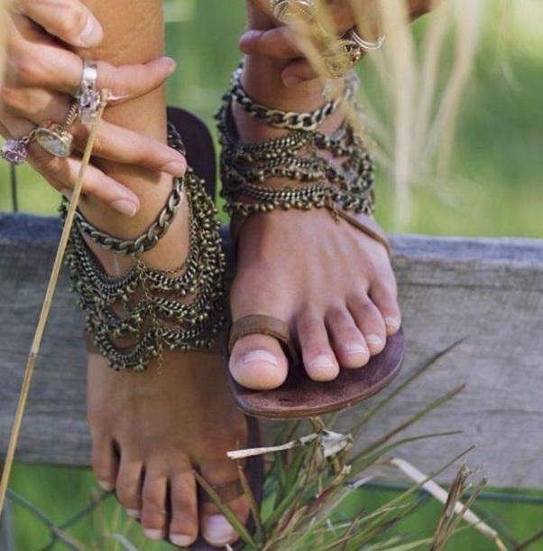 shoes chain leather boho