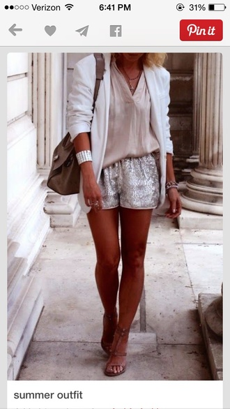 shorts silver sparkle cute style cardigan blouse shoes silver shorts white blouse blazer white blazer high heel sandals sandals nude sandals strappy sandals bag khaki bag cuff bracelet bracelets spring outfits