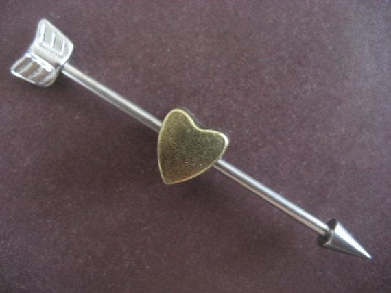 Cupids arrow industrial barbell ear piercing by azeetadesigns