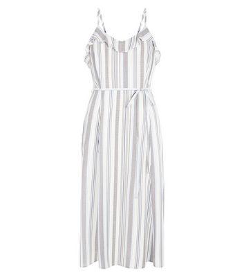 Blue Stripe Frill Midi Dress