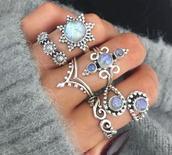 jewels,silver,hippie,boho,ring,pretty,opal,sun,sunflower,flowers,swirls,indian,gems,blue,white,cute,knuckle ring,jewelry,wow,polka dots,beautiful,stacked jewelry,boho jewelry,bohemian,coachella,festival