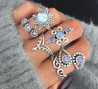 jewels silver hippie boho ring pretty opal sun sunflower flowers swirls indian gems blue white cute knuckle ring jewelry wow polka dots beautiful stacked jewelry boho jewelry bohemian coachella festival