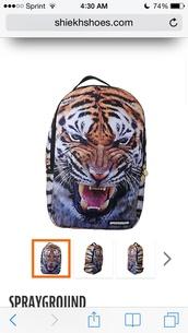 bag,tiger face,tiger bag,backpack,sprayground