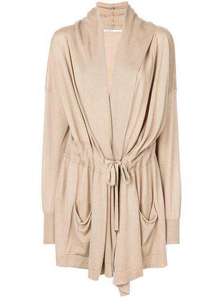 Agnona cardigan cardigan women nude silk wool sweater