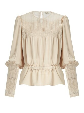 shirt long lace silk top