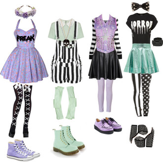 dress pastel clothes cute kawaii hair accessory purple bows black and white crop tops blouse pastel goth skirt shirt nu goth sweater shoes platform shoes flower crown boots bow