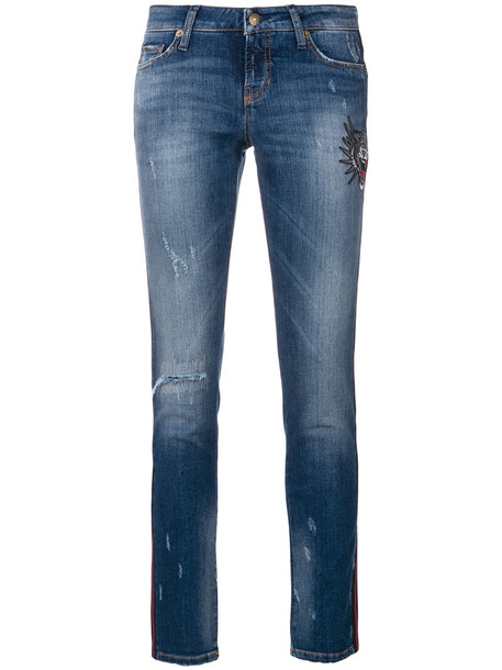 Cambio jeans skinny jeans embroidered cropped women spandex cotton blue