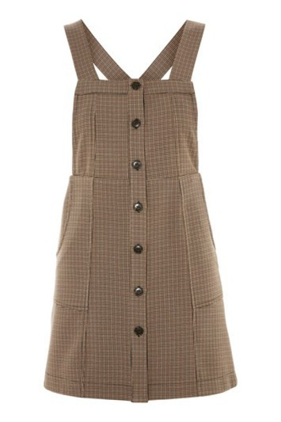 Topshop dress pinafore dress brown
