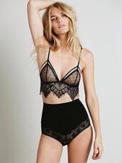 underwear,lingerie,bralette,long line bra,bra,lace bra,black lace,black bra,high waisted,black high waisted pants