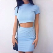 dress,two-piece,blue dress,blue skirt,blue,light blue,mini skirt,bodycon,outfit,turtleneck,cute,cute top,top,crop tops,tight,short,style,fashion,shopstyle by popsugar,two piece dress set,matching set,periwinkle bue,chic,pastel blue,shoes,sportswear,white