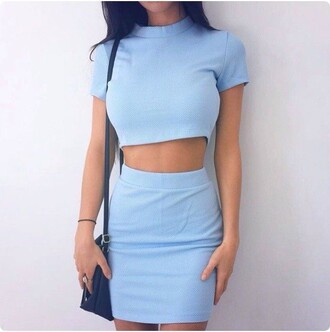 dress two-piece blue dress blue skirt blue light blue mini skirt bodycon outfit turtleneck cute cute top top crop tops tight short style fashion shopstyle by popsugar two piece dress set matching set periwinkle bue chic pastel blue