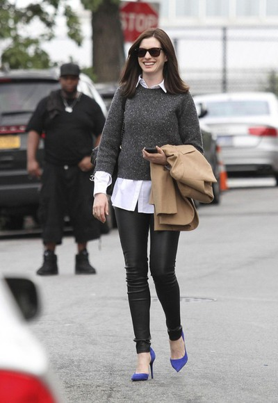 anne hathaway pants shoes sweater