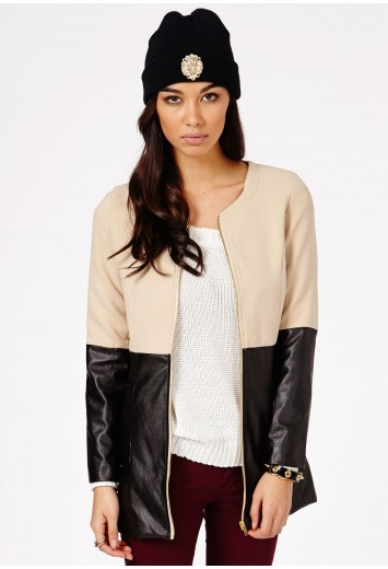 Florianna Leather Contrast Jacket - Coats & Jackets -  Missguided